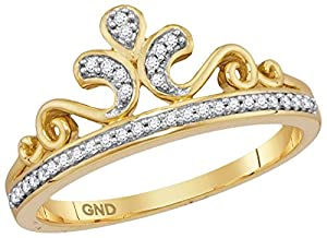 10kt Yellow Gold Womens Round Natural Diamond Crown Tiara Fashion Band Ring (.10 cttw.)