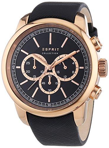 Esprit Zethos - Reloj de cuarzo para hombre, correa de cuero color negro