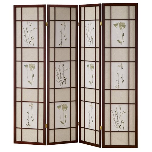 Best Price ORE International R5441-4 Four Panel Shoji Screen Cherry Finish