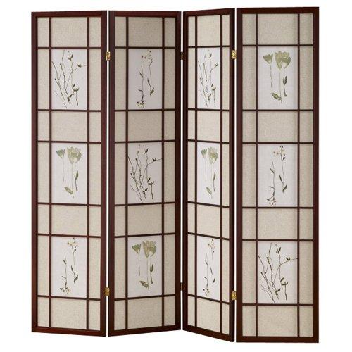 Best Price ORE International R5441-4 Four Panel Shoji Screen Cherry Finish
