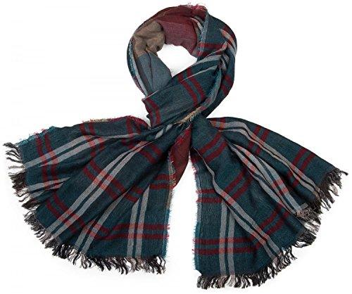 styleBREAKER mehrfarbiger Schal mit großem Karo Muster und Fransen, Unisex 01018098, Farbe:Petrol-Rot-Blau-Braun