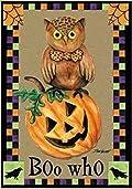 Halloween Boo Who Owl Pumpkin Garden Flag