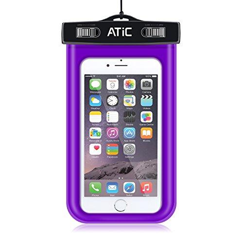 ATiC ストラップアームバンド式両用透明防水ケース - iPhone 6 / 6 Plus / 5 / 5S / 4 / 4S, Samsung Galaxy S6 / S6 Edge / s6 edge+ /S5 / S4 / S4 Active, Note 4,Note 5, iPod Touch 3 / 4 / 5, HTC ONE X / ONE S Z520E / ONE M9, Windows Phone 8 ( ATT, T-Mobile, Verizon ), Motorola DROID RAZR /MOTO G3/ LG G2 / G3 / Droid Turbo, LG G Flex 2, Nexus 4 / Nexus 6, Zenfone 2, Sony Z1 / Z2 / Z3(5.7インチ以下の携帯)に適用ストラップアームバンド式両用防水 ケース。防水保護等級 : IPx8。PURPLE
