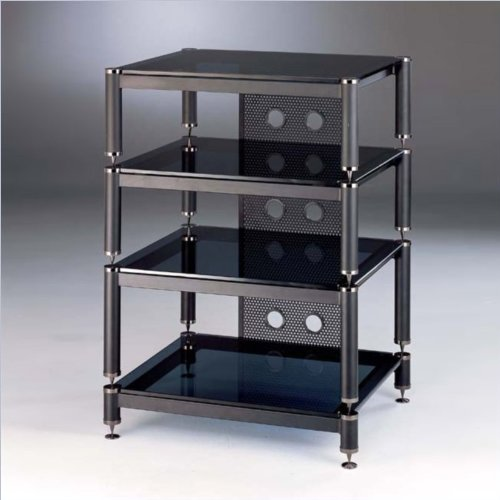 Blg Series Audio Rack Cap Color: Black, Frame Color: Black, Glass Color: Frosted