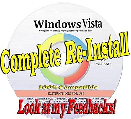 WINDOWS VISTA * ALL VERSIONS * [32 BIT & 64 BIT] * FULL CUSTOM BUILT * COMPLETE SYSTEM REPAIR or RESTORE for your Starter, Home Basic, Home premium, Professional, or Enterprise, Repair, Recovery, Restore, Re Install, Reinstall - Fix Boot Disk DVD [Lastet Version 2015-2016]