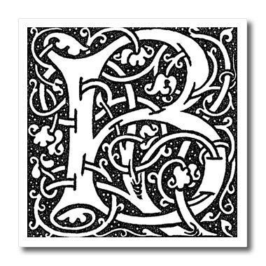 Florene - Victorian Monograms - Print Of Late Victorian Letter B In Black N White - Iron On Heat Transfers - 8X8 Iron On Heat Transfer For White Material - Ht_193097_1 front-233914