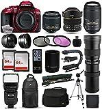 Nikon D5300 Red DSLR Digital Camera + 18-55mm VR II + 6.5mm Fisheye + 55-300mm VR + 420-1600mm Lens + Filters + 128GB Memory + Action Stabilizer + i-TTL Autofocus Flash + Backpack + Case + 70