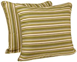 Tululah Designs 18-Inch by 18-Inch Devon Stripe Cushion Cover, Moss, Set of 2