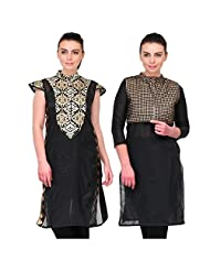 Cenizas Women's Raw Silk Black Kurtas Pack Of 2 ( 9056BLK & 9058BLK)