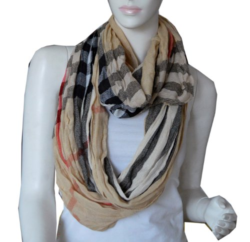 Elegant Large Light Weight Crinkle Plaid Infinity Scarf