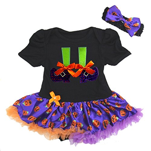 Halloween Baby Pumpkin Purple Witch Feets Pettiskirt Bodysuit and Headband