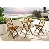 SAM® Balkongruppe 1 Blossom 3tlg. aus Akazienholz, Gartenmöbel bestehend aus 1 x Tisch + 2 x Klappstuhl, zusammenklappbar...