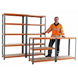 RAC Garage Shelving 3 Bay Kit - Bays 1780h x 900w x 300d mm Orange & Grey
