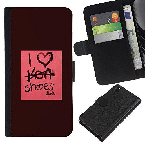 RenCase/a portafoglio Agenda PU Custodia in pelle con porta carte di credito per Sony Xperia Z3 D6603 - scarpe Fashion Design rosa marrone