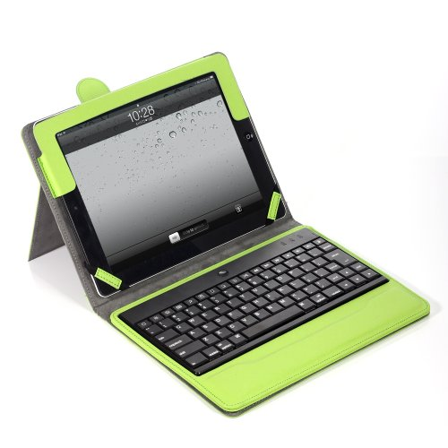 Lumsing Premium New Wireless Bluetooth Keyboard Folio Pu Leather Case Cover Magnetic Smart Stand For Ipad 2 New Apple Ipad 3 3Rd Gen & Ipad 4 Gen (Green)
