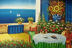 24X36 inch Seacape Art Oil Painting Oceanview Patio