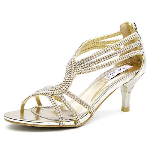 SHOEZY Womens Metallic Low Heels Rhinestones Evening Sandals Bridal Dress Shoes Gold US 9(One Size Smaller)