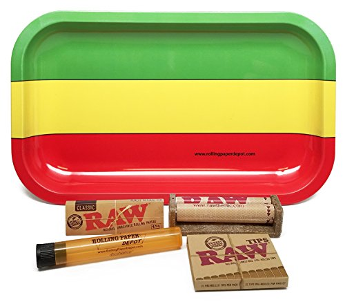 Bundle-5-Items-RAW-1-14-79mm-Roller-and-Pre-rolled-Tips-with-Rolling-Paper-Depot-Rolling-Tray-Rasta-and-Doobtube