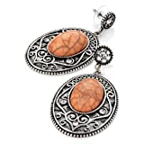 Oval Pierced Fashion Earrings Burnt Silver & Coralby Minerva Collection