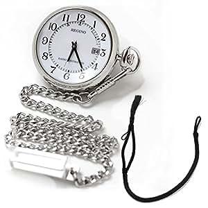[シチズン]CITIZEN ポケットウォッチ REGUNO レグノ ソーラーテック 電波時計 KL7-914-11と懐中時計専用 HB-2房あり ブラックのセット