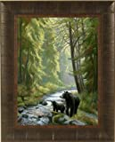 By The Stream by Lucie Bilodeau 17x21 Black Bear and Cubs Art Print Wall Décor Framed Picture
