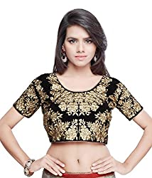 Bollywood Designer Embroidered Heavy Valvet Black Blouse Material (UNSTICHED)