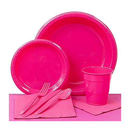 Shindigz Valentines Day Decorations Hot Pink Plastic Party Pack