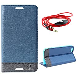 DMG Apple iPhone 6 Plus 6s Plus Flip Cover, DMG PRaiders Premium Magnetic Wallet Stand Cover Case for Apple iPhone 6 Plus 6s Plus (Pebble Blue) + 3.5mm Flat AUX Cable with Mic