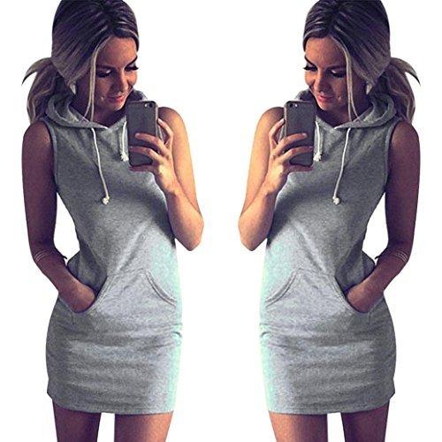 GBSELL Fashion Womens Summer Casual Sleeveless Hoody Dress (XL)