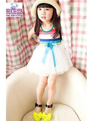 CBIN&HUA Vestito Girl Senza maniche Estate Misto cotone , white-130 , white-130
