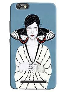 Omnam White Girl Standing On Blue Background Printed Designer Back Cover Case For Lenovo Vibe C (A2020)