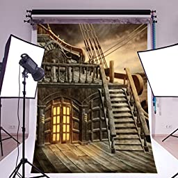 Mohoo 1.5×2.1m Pirate Ship Silk Photography Backdrop Studio Prop Background (Updated material)