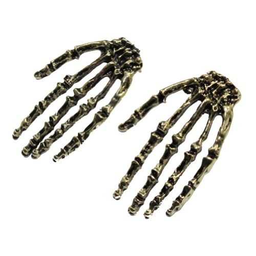 Zehui Bronze Fashion Hot Gothic Cool Rock Punk Skeleton Skull Hand Ear Stud Earrings