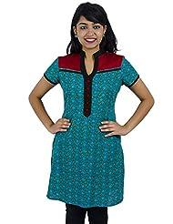 Simply Sapnaa's Women's Cotton Printed Half Sleeve Kurti (Blue)