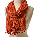 Coral Embroidered Scarf