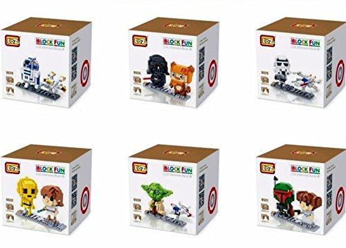 Star Wars Nanoblocks Boba Fett with Leia Princess Loz Diamond Block Chewbacca Darth Vader Nano Blocks Yoda Luke Skywalker Mini Micro Building Blocks 6 Set with Original Gifts Boxes