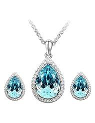 Cyan Crystal Teardrop Style Crystal Jewelry Set For Girls