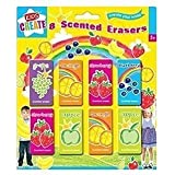 8 Childrens Kids Fruit Scented Rubbers Erasers Ideal Gift or Party Bag Fillers by Home Fusion