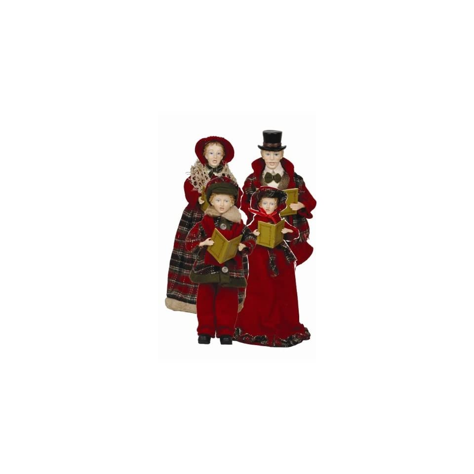 Christmas Caroling Family Set Of 4: 4 Piece Victorian Plaid Carolers Figurines Set On PopScreen