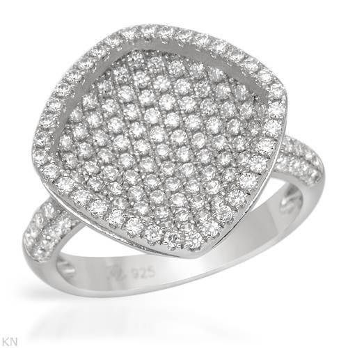 Ring With 2.00ctw Cubic zirconia Beautifully Crafted in 925 Sterling silver (Size 6.5)