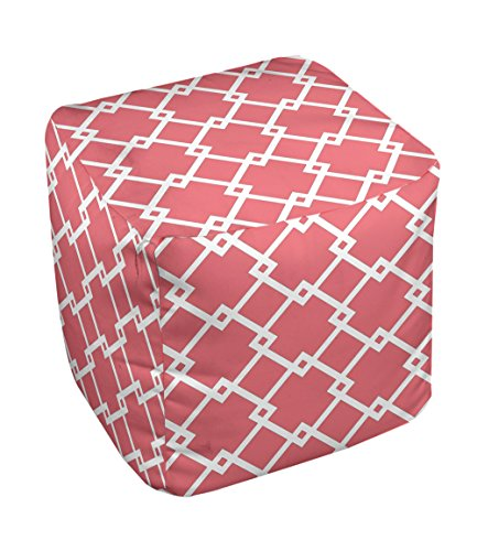 E by design FG-N10-Coral_White-18 Geometric Pouf - 1