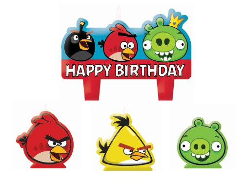 Imagen de Vela Moldeada Angry Birds Cake Set 4ct