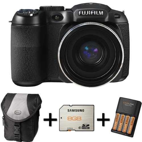Fujifilm FinePix S2980 Digital Camera + Case + 8GB Memory +4 AA Battery and Charger (14MP Black Friday & Cyber Monday 2014