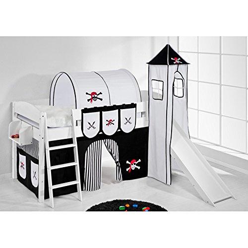 Hochbett Spielbett IDA Pirat Schwarz Weiß, mit Turm, Rutsche und Vorhang, weiß günstig kaufen
