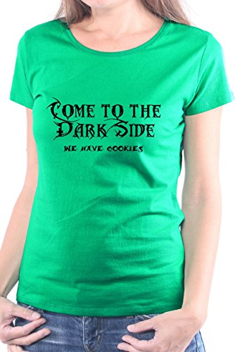 Mister Merchandise Donne Donna Camicetta T-Shirt Come to the dark side. We have cookies. , Ladies Tee Taglia: XL, Color: Verde