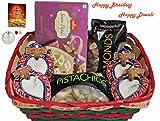 Diwali / Bhaidooj Gift Hamper - Haldiram Soan Papdi, Almonds, Pistachios and 4 Diya in a Beautiful Basket