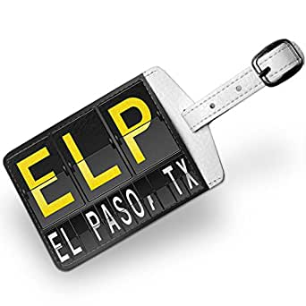 Airport Code for El Paso, TX, Travel ID Bag Tag - Neonblond: Clothing