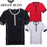 ARMANI JEANS アルマーニ ジーンズ Tシャツ 半袖 ボタン クルーネック スリム フィット シャツ メンズ 3カラー 並行輸入品 VITA354