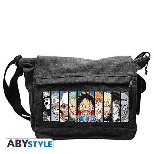 One Piece - Borsa tracollo con motivo dei personaggi e Ruffy - Messenger Bag pirata in canvas - 35 x 25 x 10cm - Grigio
