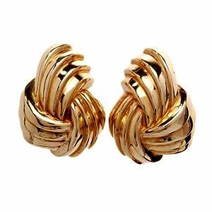 Estate 18k Gold Knot Clip Back Earrings
